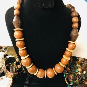 Very Large Wooden Bead Necklace - Long
